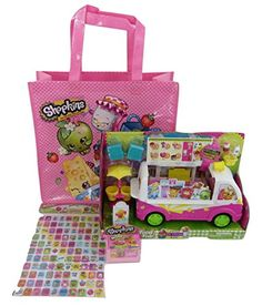 Shopkins Scoops Ice Cream Truck, Season 4 Basket with 2 Shopkins, Puffy Stickers, and a Reusable Shopkins Tote * You can get more details by clicking on the image.