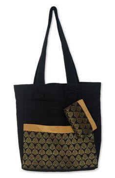 3dfa370d186d Cotton Tote Bag with Change Purse Handmade in Thailand, 'Golden Garden'