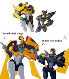RID Bumblebee meets his younger, TFP self - So awesome and adorable! (By milagrosen on Tumblr)