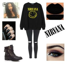 """Nirvana"" by alicia-brockett ❤ liked on Polyvore featuring Topshop, Chicnova Fashion and Ardell"