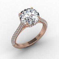 18k Rose Gold Diamond Engagement Ring Center 9.5mm Round