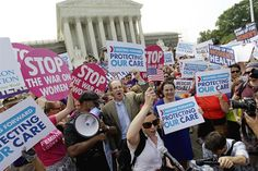 Health Care ruling protestants outside Supreme Court