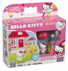 Mega Bloks Hello Kitty Candy Shop by Megabloks. $12.82. Umbrella to keep Hello Kitty cool in the hot summer sun.. Can easily be connected into the Hello Kitty neighborhood: mix and match to create the sweetest Hello Kitty town.. .. Collectible Hello Kitty figurine included.. Special Hello Kitty Candy Shop sweets cart with tasty treats.. From the Manufacturer                Help your child and Hello Kitty build sweet little shop with the Hello Kitty Candy Shop Playset. Your c...