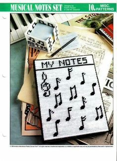 Musical paper holder made out of plastic canvas Plastic Canvas Ornaments, Plastic Canvas Crafts, Plastic Canvas Patterns, Tissue Box Covers, Tissue Boxes, Canvas Designs, Canvas Ideas, Music Canvas, Ohio State Crafts