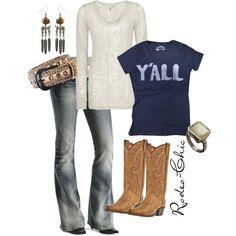 """Y'all"" Cowboy boots by @Dan Uyemura Uyemura Uyemura Post Boot Co., Jeans @Sheplers Western Wear Western Wear Western Wear Western Wear, earrings @Allison j.d.m j.d.m House! of Harlow 1960"