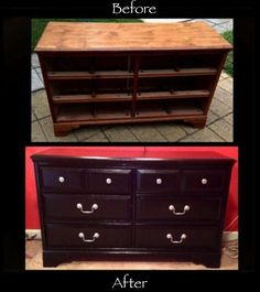 DIY- Painted old dresser, with spray painted silver knobs