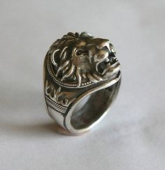 lion head ring. Silver 925 by yurikhromchenko on Etsy, $135.95