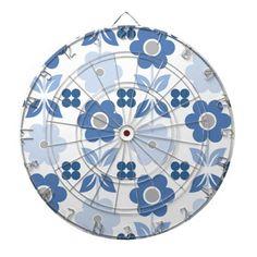 Retro Blue Flowers Dartboard With Darts - blue gifts style giftidea diy cyo