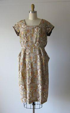 vintage 1950s rayon dress / 50s day dress