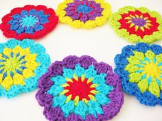 Crochet Flower Coasters-Set of 6  Rainbow Flower by RoseJasmine
