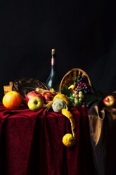 Classic Dutch still life with dusty bottle of wine and fruit on a dark background by Elena Mordasova on 500px