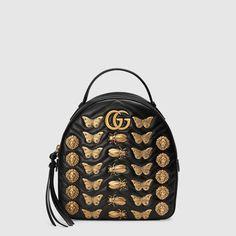 Zaino in pelle GG Marmont con borchie a motivo animale