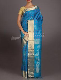 Supraja Checks In Blue Gold Border #Uppada #WeddingSilkSaree