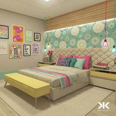 Para aqueles que gostam dos Projetos do Escritório com cores alegres, aconchegantes e com muito alto astral! Dormitório para uma garota com destaque para as cores dos tecidos, papel de parede e mobiliário em perfeito diálogo. #DanielKrothArquitetura #DKarquitetura #projeto #dormitorio #dormitoriodemenina #cores #arquiteturadeinteriores #arquitetura #architecture #interiordesign #decor #marcenaria #iluminacao