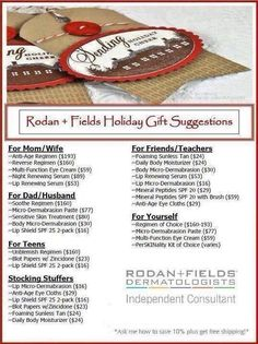 Gift Ideas for EVERYONE! Rodan + Fields products are guaranteed and awesome! Http://amandaprice.myrandf.com
