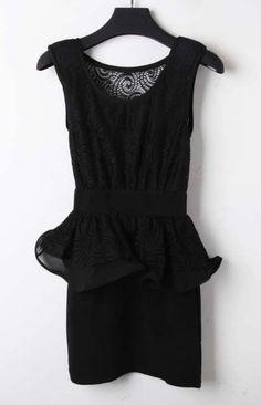 Black Sleeveless Lace Embroidery Back Peplum Bodycon Dress