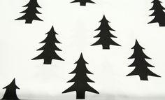Stoff Blumen - Baumwolle Tannen Tannenbaum schwarz auf weiß - ein Designerstück von kleineWolke-stoffe bei DaWanda