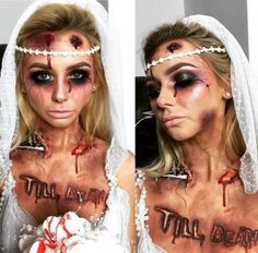 Dead bride Halloween make up Braut Halloween, Disfarces Halloween, Halloween Inspo, Halloween Designs, Halloween Makeup Looks, Couple Halloween, Halloween Cosplay, Halloween Outfits, Halloween Bride Costumes
