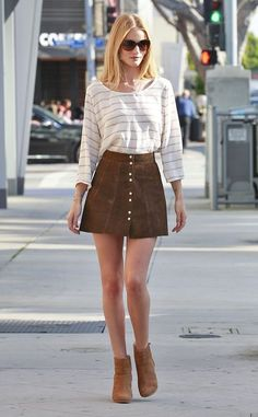 suede skirt and stripe top
