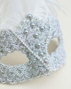Unique Silver Pearl Baroque Feather Masquerade Mask - Masque Boutique - Masque Boutique