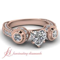 Heart Shaped And Round Diamonds 14K Rose Gold Side Stone Engagement Ring in Bezel Setting || Dual Bezel Ring