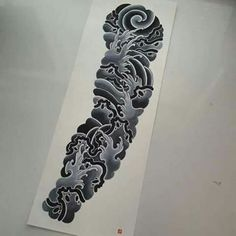 Oriental Tattoo Waves Black and White Design Waves and Picks - Japanese Dragon Tattoos, Japanese Sleeve Tattoos, Best Sleeve Tattoos, Tattoo Sleeve Designs, Japanese Cloud Tattoo, Cloud Tattoo Sleeve, Arm Tattoo, Body Art Tattoos, Irezumi Tattoos