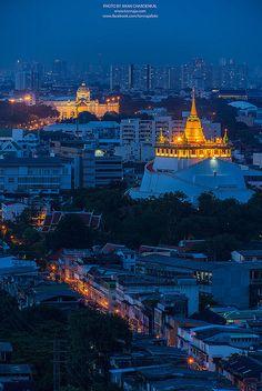 Golden pagoda and palace in Bangkok, Thailand