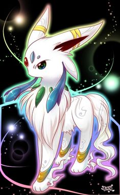 This needs to be a real Pokemon. So pretty! Rainbow Eeveelution version 0.0