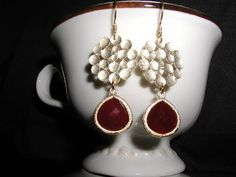 Red Red Wine Dangle Earrings by luvswoodencars2 on Etsy, $24.00