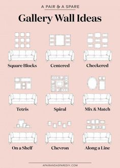One pair & one spare part 9 ways to lay out your gallery wall # . - One pair & one spare part 9 options for the layout of your gallery wall # Gallery furniture - Gallery Wall Layout, Gallery Walls, Living Room Gallery Wall, Living Room Wall Ideas, Picture Wall Living Room, Living Room Pictures, Small Living Rooms, Home Wall Decor, Bedroom Wall Pictures
