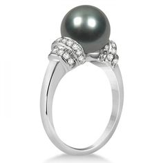 Tahitian Black Pearl Ring with Diamond Accents 14K White Gold 9-10mm selling at $1279.95 at Allurez, marked down from $2415.00. Price and availability subject to change.