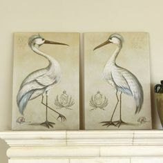 Great Blue Heron Giclee Print  Italian artist, Vitorio Splendore, developed his unique style restoring the faded frescoes of some of Italy's great palazzos. These regal birds were inspired by 18th century European royal crests. The warm, aged cream background brings out the subtle coloration in their feathers and blends easily with fabrics and wood tones.