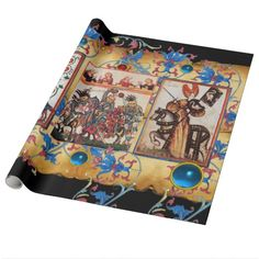 PRINCESS PENTHESILEIA AND BLUE KNIGHT HORSEBACK GIFT WRAP PAPER