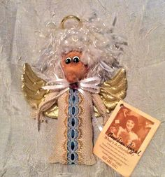 """Vintage """"Gourdian Angel"""" Angel made from a Gourd for Christmas or Vintage  Decor, Hand Painted, Signed, Dated, made by Sharon Barron, Ala. - pinned by pin4etsy.com"""