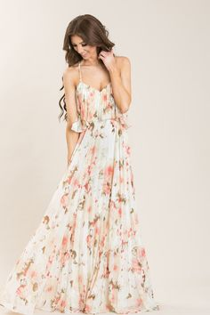 Giselle White Floral Pleated Maxi Dress - Morning Lavender
