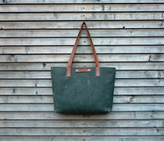 Waxed canvas tote bag / carry all with leather handles