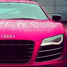 Pink #Audi #R8 looking mighty fine in the rain! #SantaMonicaAudi. Can we just appreciate this beauty.
