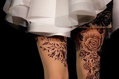 Rose Garter thigh tattoo