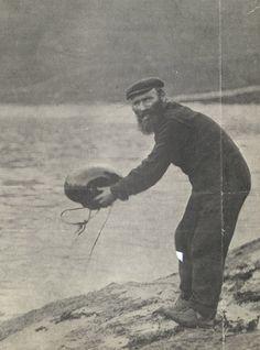 "A St Kilda islander launches a ""mail boat"". St Kilda Scotland, Scotch Image, Scotland History, Outer Hebrides, Scottish Islands, Archipelago, British Isles, Portraits, Travel Pictures"