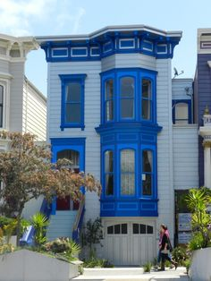 San Francisco Victorian home with cobalt and royal blue trim. [better shot than mine]