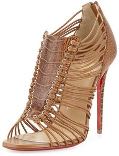 Christian Louboutin Amal Ostrich Caged Red Sole Bootie, Cognac