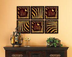 Live Laugh Love 16inx6 Set home decoration, Hand Lettering Zebra Gold Stripes  Artwork description:  Gold Leaf on Original Oil painting Backround
