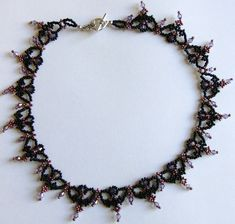 Black and purple beaded lace necklace (Regal Lace necklace)