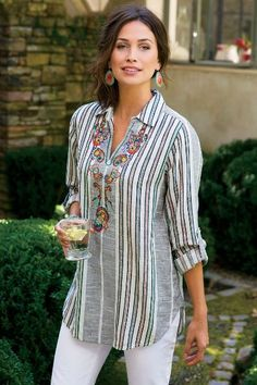 Aruba Pullover - Floral Top, Paisley Top, Womens Striped Button Up | Soft Surroundings