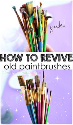 How to Revive Old Dried Up Paintbrushes: 1 glass cup with about 1-2 inches distilled white vinegar. Heat it in the microwave for 1-1.5 minutes then put your nasty paintbrushes into it. Its supposed to bubble. It will smell horrid apparently. Let them sit for an hour where no one will be bothered by the smell. Brush paint off - she gives ideas on what to use and next steps if this doesn't work!
