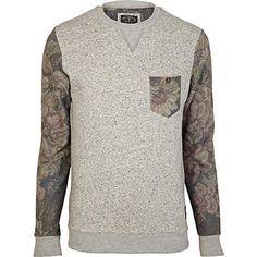 Grey Holloway Road floral sleeve sweatshirt - sweatshirts - hoodies / sweatshirts - men ($50-100) - Svpply