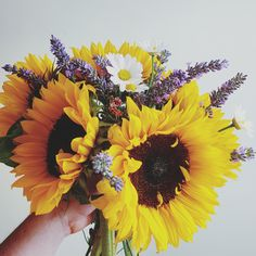 Sunflower and lavender bouquet for a summer wedding