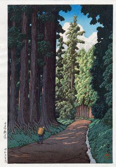 Nikkô gaidô (The Road to Nikkô), by Kawase Hasui, 1930. -- See also at: http://ukiyo-e.org/image/mfa/sc205781