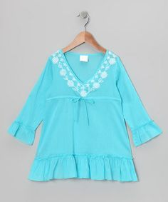 Take a look at this Turquoise Long-Sleeve Ruffle Tunic - Toddler & Girls by Azul Swimwear on #zulily today!