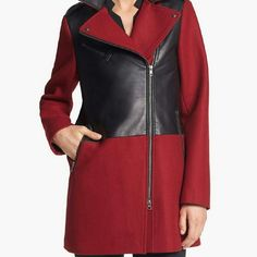 New SOIA & KYO Wool Coat Leather Red Black SZ S New with tags size S wool blend assymetrical zip coat by Canadian brand Soia & Kyo. Retail price $460. MICHAEL Michael Kors Jackets & Coats Trench Coats